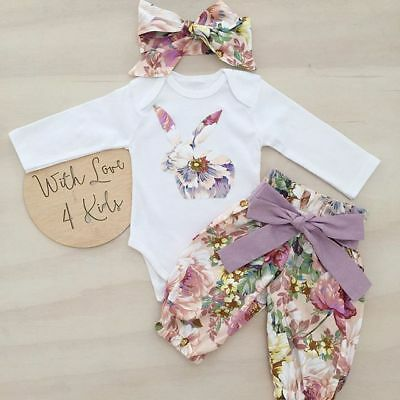 Newborn Baby Girl Infant Bunny 3pcs Clothes Romper Tops Floral Pants Outfits Set