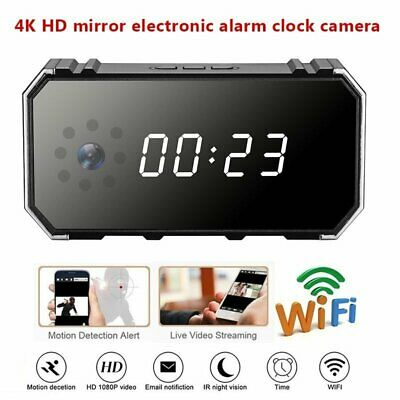 HD 1080P Wifi 4K Spy Hidden Mirror Camera Night Vision DVR IR Motion Alarm Clock