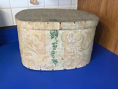 Antique Wallpaper Hat Box circa 1820s
