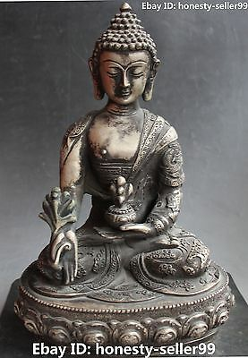 """12"""" Chinese Tibet Old Silver Double Dragon Menla Medicine Medical Buddha Statue"""