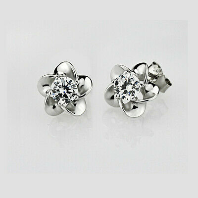 925 Sterling Silver Plated White Crystal Stone Ear Stud Earrings
