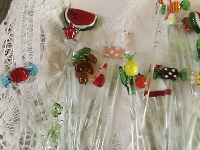Collection Of Glass (?? Murano) Drink Stirrers Watermelon Lollies Birds Rabbit