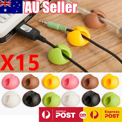 15PCS Cable Clips Cord Lead Organiser USB Charger Holder Drop Adhesive Sticker
