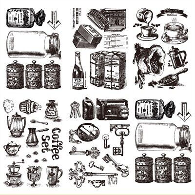 Retro Coffee Style Transparent Silicone Clear Rubber Stamp Cling Scrapbook DIY