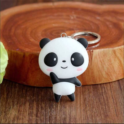 Silicone Cartoon Panda Keychain Fashion Women Keyring Pendant Key Ring Chain