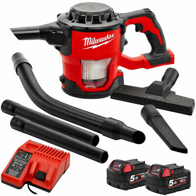Milwaukee M18CV-0 18V Compact Hand Vacuum With 2 x 5.0Ah Batteries & Charger