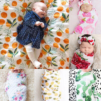 Newborn Baby Floral Swaddle Wrap Swaddling Sleeping Bag Blanket Headband Set UK