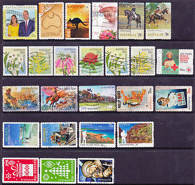 Stamps. Australian. 2014-15 Small selection of 70c stamps.(22 of + 3 xmas) Used.