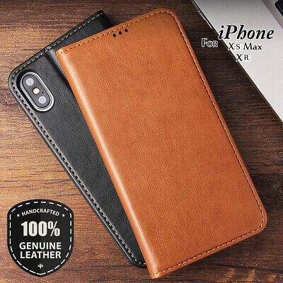Magnetic Wallet Genuine Leather Folio Flip Case For iPhone X XR XS Max 8 7 Plus