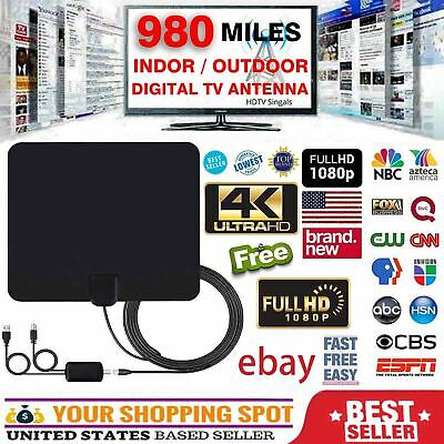 4K 1080P Indoor Digital TV Antenna 300 Miles Range Signal Booster Amplifier HD