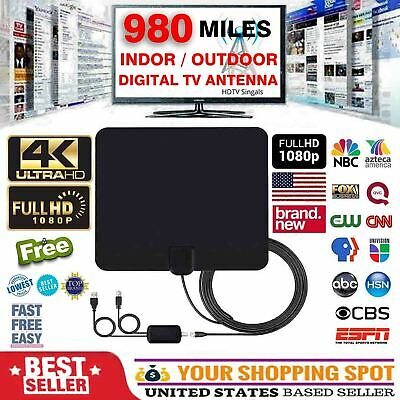 300 Mile Range Antenna TV Digital HD Skywire 4K Antena HDTV 1080P Amplifier Fox