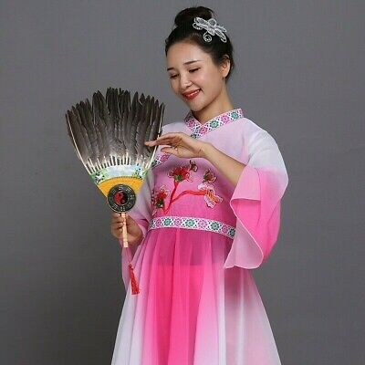 1 X Chinese Feather Hand Fan Vintage Novelty Gift Fancy Dress Dance Retro New