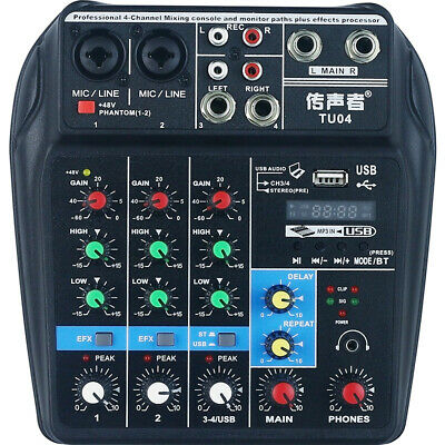 TU04 BT USB 4 Channels Audio Sound Mixing Console 48V Plus Effects DJ Stage