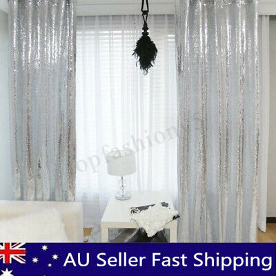 2Pcs 2ftX7ft Silver Shimmer Sequins Fabric Photography Backdrop Wedding Decor
