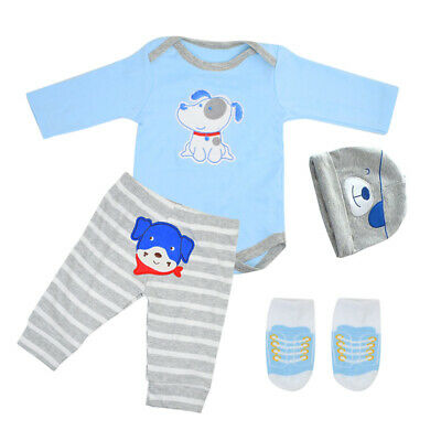 "Reborn Dolls Baby Clothes for 22"" Newborn Boy Baby Doll Clothing 4Pcs/Sets"