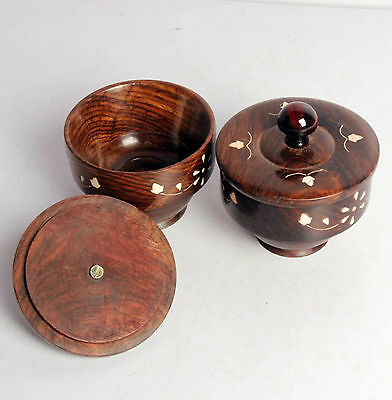 2 Piece Wooden Rice/soup/icecream Bowl With LidBone Inlay Work New-4333 Rb17