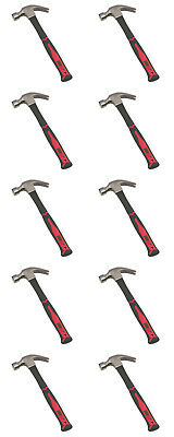 10 x Forge Steel Fibreglass Shaft Claw Hammer 20oz / 0.57kg Quality Free P&P New