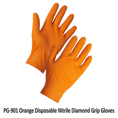 Disposable Heavy Duty Nitrile Gloves Orange Latex Free Grip Mechanic Garage Auto