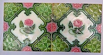 Majolica Tile Vintage Art Nouveau Ceramic Glazed Saji Japan Rare Collectible#456