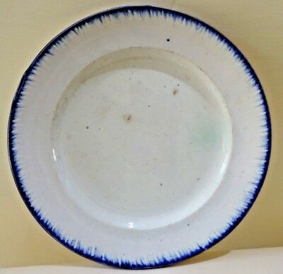 Antique Pearlware Feather Edge Dinner Soup Plate Blue 19th c. Staffordshire 1#F