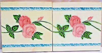 TILE ART NOUVEAU MAJOLICA VINTAGE CERAMIC PORCELAIN ENGLAND ROSE COLLECTIB 2p #1