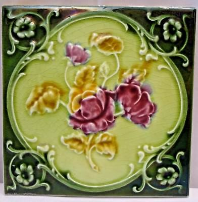 Tile Majolica Art Nouveau England Porcelain Rose Purple Architecture Collect#113