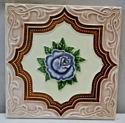 Tile M S Tile Works Japan Art Nouveau Rose Majolica Ceramic Porcelain Rare #245