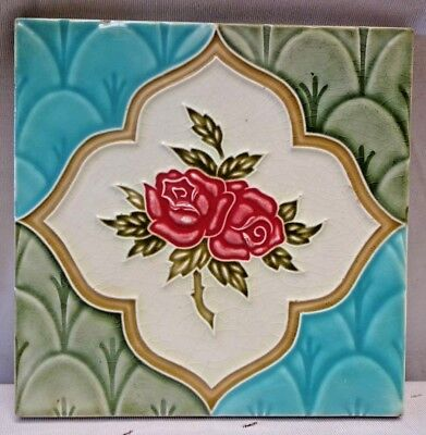 Tile Saji Japan Art Nouveau Majolica Ceramic Porcelain Rare Collectibles Old#242