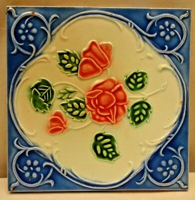 Tile Porcelain Ceramic Art Nouveau Majolica Rose Blue Vintage Japan Dk Rare #196