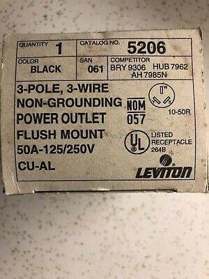Leviton Power Outlet Receptacle 50A 125/250V NEMA 10-50R 5206