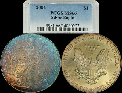 2006 American Silver Eagle PCGS MS66 Unique Red,Blue and Yellow Toned Coin