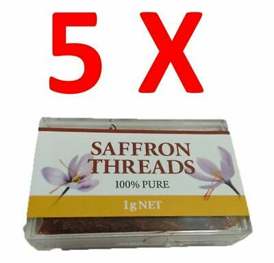 5X Chef's Choice 100% Pure Premium Quality Saffron Threads 1g