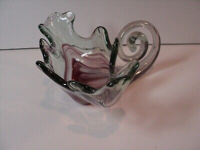 Vintage Sooner, Hand Blown, Art Glass Candy Dish. NICE