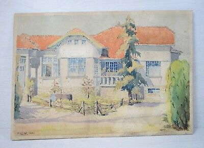 Antique Watercolor Hand-painted Painting of Balkan Mansion House 1935 Signed