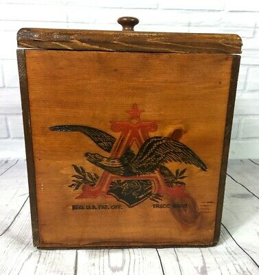 Vintage Anheuser Busch Wooden Ice Box With Lid Eagle Logo Budweiser Cooler Wood