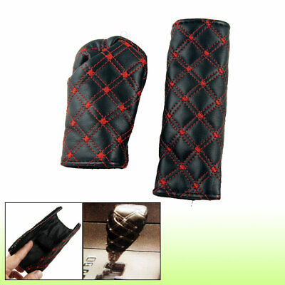 Stiching Rhombus Red Black Car Gear Knob Cover Hand Brake Cover 2 in 1