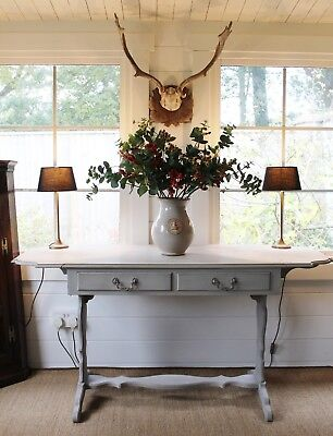 Attractive Georgian Style Hand Painted Grey Drop Leaf Sofa Table/two Drawers