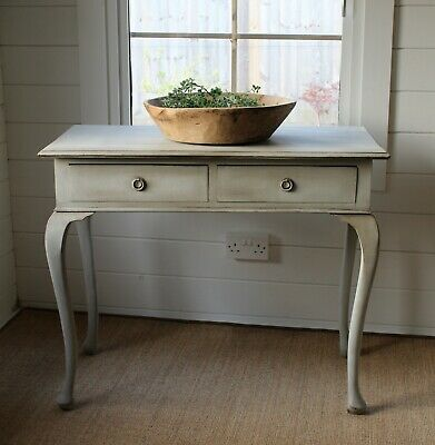 """Rangy Antique """"artisan Painted"""" Mahogany Console/hall Table/pale Powder Blue"""