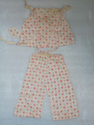 "Vintage Doll Clothes 1940s 1950s Pink Print 2 PC Top & Pants Or JP""s"