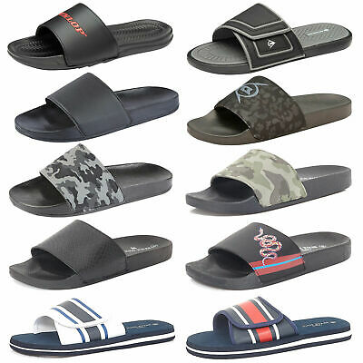 Mens Lightweight Sliders Summer Shoe Casual Holiday Flat Black Camo Sports Mules