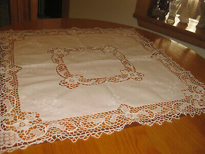 """Gorgeous Vintage Hand Made Italian Needle Lace Embroidery Tablecloth 32""""x32"""""""