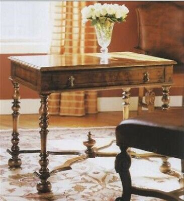 William and Mary Style Inlaid Walnut Writing Table Turned Legs H76 x W96 x D63cm