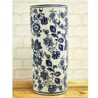 Oriental Style Ceramic Umbrella Stand Flower Vase Stick Holder Blue White Floral
