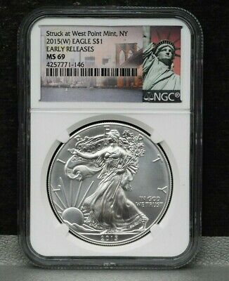 2015 W American Silver Eagle $1 West Point NGC MS 69 Early Release