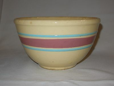 Vintage Watt Pottery Oven Ware #7 Mixing Bowl Pink & Blue Bands Striped USA