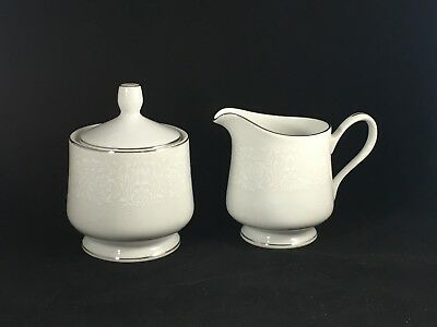 Carlton Japan Plymouth 303 White Floral Creamer and Sugar Bowl w/ Silver Trim