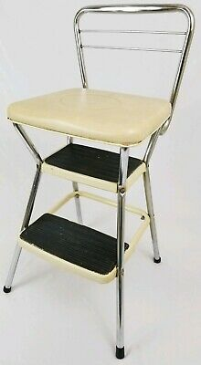 VINTAGE COSCO 2 step stool metal kitchen chair 1950\'s mid ...