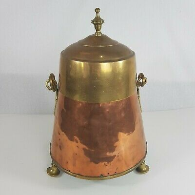 Antique Copper And Brass Dutch Doovpotte 42cm High Peat / Coal Bucket
