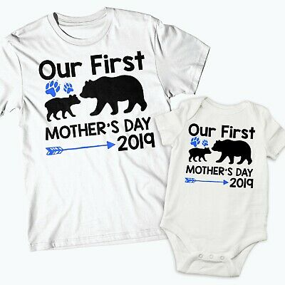 Our First 1st Mothers Day 2019 Mother's Day Baby Vest Bears Baby Grow Boys 575