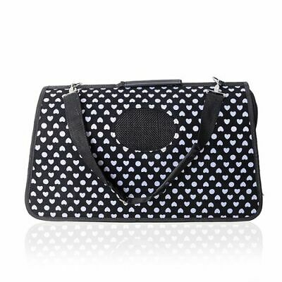 Black and white zip up pet carrier portable and easy storage with white hearts